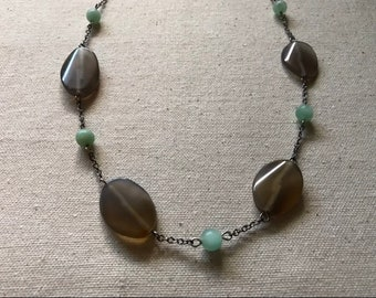 Gray and aqua blue beads beaded chain necklace