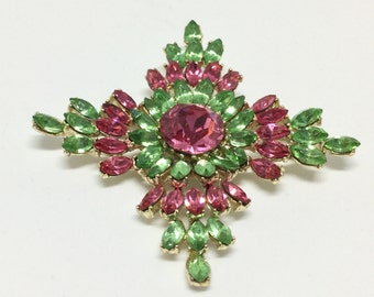 Vintage Awesome Pink and Green Rhinestone Flower Brooch Pin