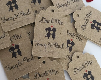 Miniature Personalised Wedding Favour Tags (20) Kraft Card *Other colours available on request*