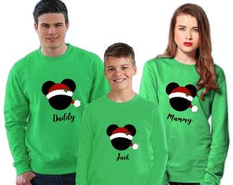 10% Off Christmas Jumpers | Disney Santa Family Christmas Sweatshirt | Women's/Men's/Unisex/Kid's Jumper | White, Blue, Red, Green