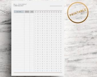 Bill Payment Checklist Printable | Bill Planner | Bill Due Tracker | Bill Organiser | Budget | Finance | A4 | US Letter | Instant Download