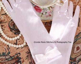 Girls Tea Time White Satin Gloves Long