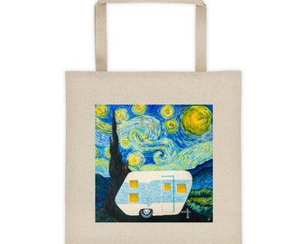 Starry Night Vintage Trailer Tote bag