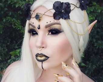 Dark elven crown - black and gold - gothic crown