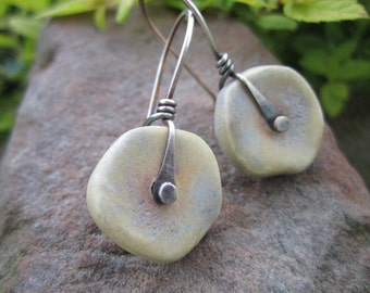 Rustic Buttery Cream Ceramic and Sterling Silver Riveted Earrings