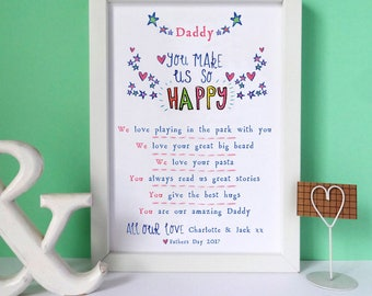 Personalised Six Reasons Why I Love You Print, Valentines print, Love print, Fathers day print, Birthday gift, Gift for Grandma, for Wife,