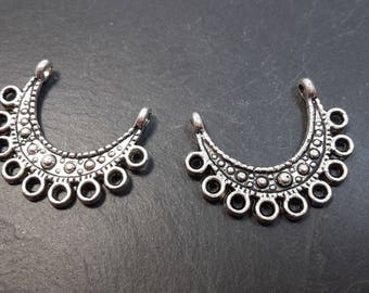 Candlesticks half moons, connectors, Bohemian ethnic, support bouble earrings, silver, 21 x 16 mm