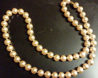 Vintage faux Pearl Necklace Cream Off White Color With Hidden Clasp, classic, elegant, princess, dress up
