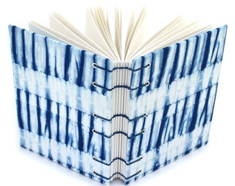 Shibori Journal 1- Lay Flat Journal - Unlined Journal - Coptic Stitch - Gift for a Writer - 160 Pages - handmade by Ruth Bleakley