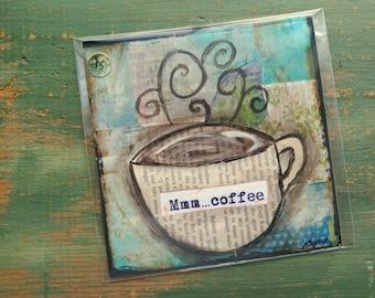 """SALE! Coffee Print, 5""""x5"""" Coffee Art, Whimsical Art Print, Whimsical Coffee, Mixed Media Print, Sale Print, Clearance print, Mmm coffee"""