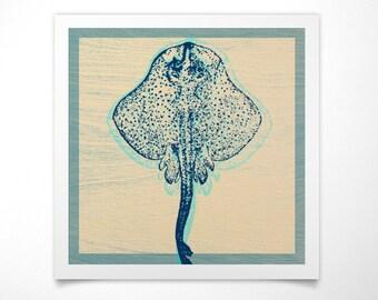 Coastal Art- Spotted Sting Ray Print- Sea Life Prints- Ocean Decor- Ocean Wall Art- Ocean Print- Ocean Nursery Decor- Fish Print- Fish Decor