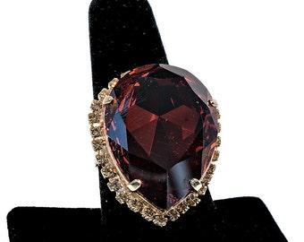Red Orange Tear Drop Swarovski Crystal Ring with Adjustable Shank