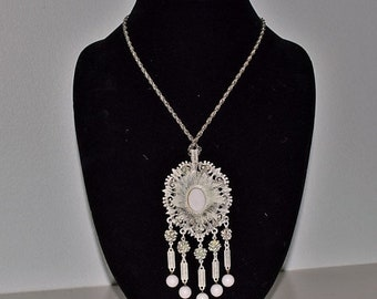 Memorial Day Sale Vintage Necklace Large Antiqued White Beaded Pendant with Antiqued Silver-tone Chain.