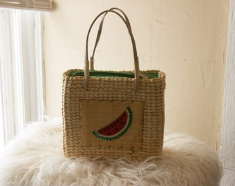 Watermelon Wicker Bag Vintage Style