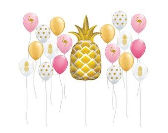 "Pineapple Balloon Kit, 44"" Gold Pineapple Party Balloon, Flamingo Balloon, Tropical Decor, Pool Party Supplies, Tropical Balloon Decor"