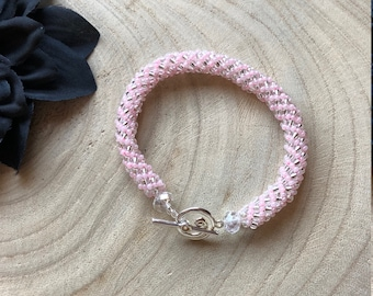 Pink and Clear Beaded Bracelet / Russian Spiral Beaded Woven Bracelet