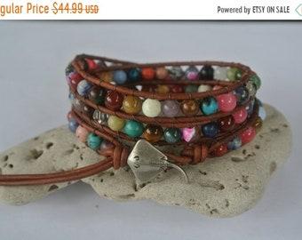 SALE 50% OFF Stingray Gemstone  Beaded Leather Wrap Bracelet