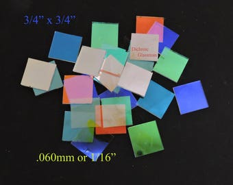 Optical Dichroic Borosilicate Glass .060mm Scientific Stained Glass Craft ... 100 pcs variety of colors