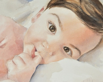 Custom Watercolor  Portrait From Your Photographs