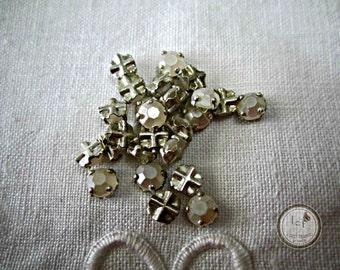 Sterling Czech Montee Vintage Beads Vintage Czech Montee Sterling Czech Vintage Glass Beads Sterling Montee 5mm (5 pcs) 4V4