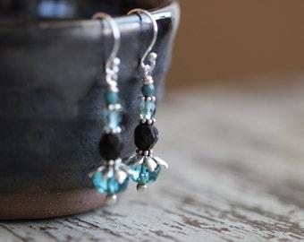 Boho Czech Glass Earrings, Teal Blue, Aqua Blue, Rustic, Sterling Silver, Dangle Earrings, Glass Earrings, Cottage Chic, Boho Chic, Rustic