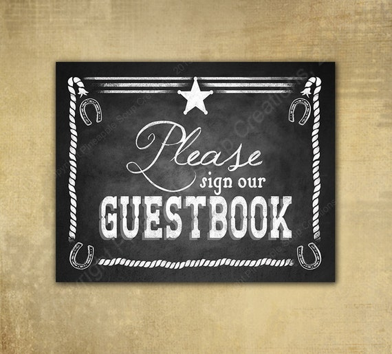 PRINTED Western Guestbook Wedding sign - Chalkboard signage - 3 sizes available with optional add ons