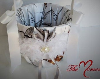 White Camo Flower Girl Basket,  True Timber White Snowfall Satin Flower Girl Basket with White Accents, Wedding Basket