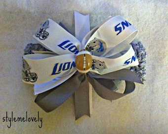 Detroit Lions Baby Girl Boutique bow Crocheted Headband