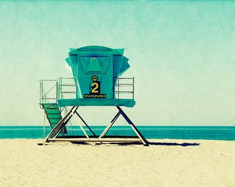 beach print, beach art, lifeguard stand, beach, santa cruz art, california, vintage style, vacation, ocean - Seabright, art print
