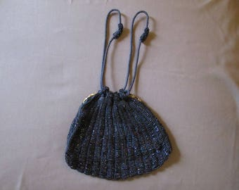 Blue Reticule with Iridescent Blue Beads