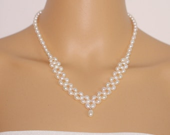 Pearl necklace wedding,pearl necklace bridal,bead pearl necklace bridesmaid,white freshwater pearl choker necklace,mother necklace,mom gift
