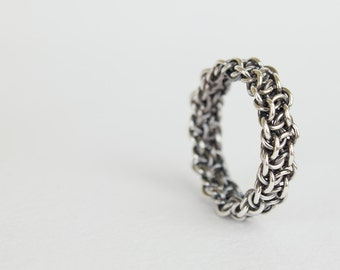 Mens Silver Ring, Thick Fused Argentium Sterling Silver Chainmaille, Unique Wedding Band, Size 7 8 9 10 10.5 11 11.5 12 12.5 13 14 15 16 17