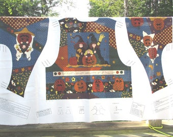 """Halloween Vest by Leslie Beck. Fabric Panel for Adult Vest. 3 sizes. Title - """"Which Witch and the Who?"""""""