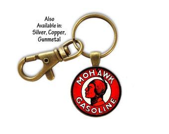 Key Ring, Mohawk Gas Keyring, Gasoline Key Ring, Vintage Gas Key Ring, Gift for Dad, Gift for Him, Retro Gasoline Key Ring
