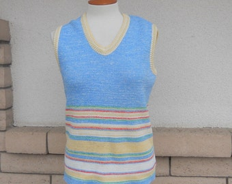 Vintage Tank Top, 70s Space Dye Top, Sleeveless Sweater Top Size Large
