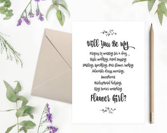 Will You Be My Flower Girl | Printable Wedding Card | Bridesmaid | Matron Of Honor | Proposal Card | Maid Of Honor  - 29B77