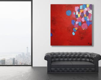 Large Red Abstract Painting / Modern Art / Abstract Art / Contemporary Art / Red Painting / Red Modern Art / Extra Large Red Painting