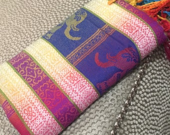 Luxury Womens 100% Cashmere Scarf: Multicoloured. Perfect as a Gift! Beautiful Elephant Design | Gifts for her