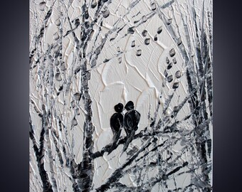 White Black 60x36 SERENADE Modern Abstract Birds Trees Landscape Palette Knife Oil Painting by Luiza Vizoli