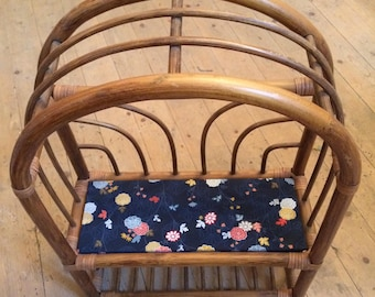 Vintage fabric with rattan shelf