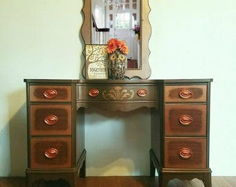Bronze and Metallic Upcycled and Stenciled Vintage Desk or Vanity