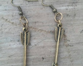 Small Arrow Dangle Earrings Antiqued Gold