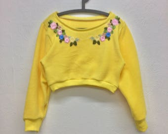 Yellow Pink Vintage Style Floral Cropped Jumper