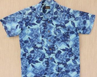 Vintage Hawaiian Shirt Men SEARS PREMIERE Collection 60s Mod Poppy Flower Power Hipster Aloha Shirt Surfer - M - Oahu Lew's Shirt Shack
