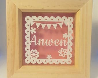 Mini name frame, Nursery frame, Personalised frame, Frame for nursery, New born baby, Flower frame, Papercut style, Vinyl frame, Cute frame