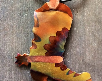 Cowboy Boot with Spur Necklace, Flame Painted Copper on leather cord.