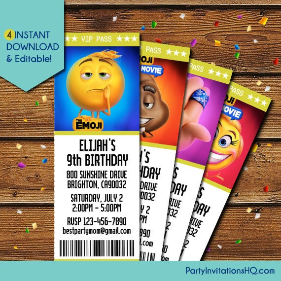 Emoji Movie Party Invitations Templates