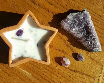 Lavender soy wax star candle with amethyst stone