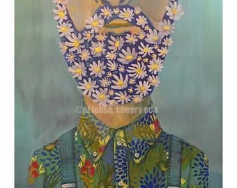Floral Facial Hair Guy • art print • giclee • daisies • whimsical • Flower vase series  • portrait • birds • beard •contemporary • gift •fun