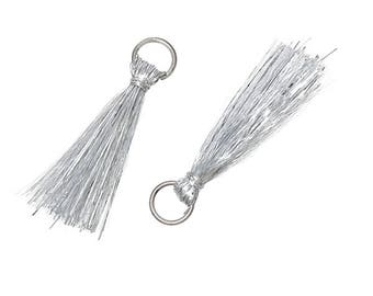 set of 20 tassels silver rings with 3 cm